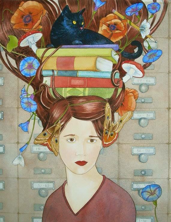 ragazza con libri, fiori e gatta nera in testa